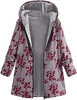 Womens Coats Jacket Flowers Floral Print Boho Vintage Warm Padded Hooded Long Fleece Lined Parka Plus Size 3XL