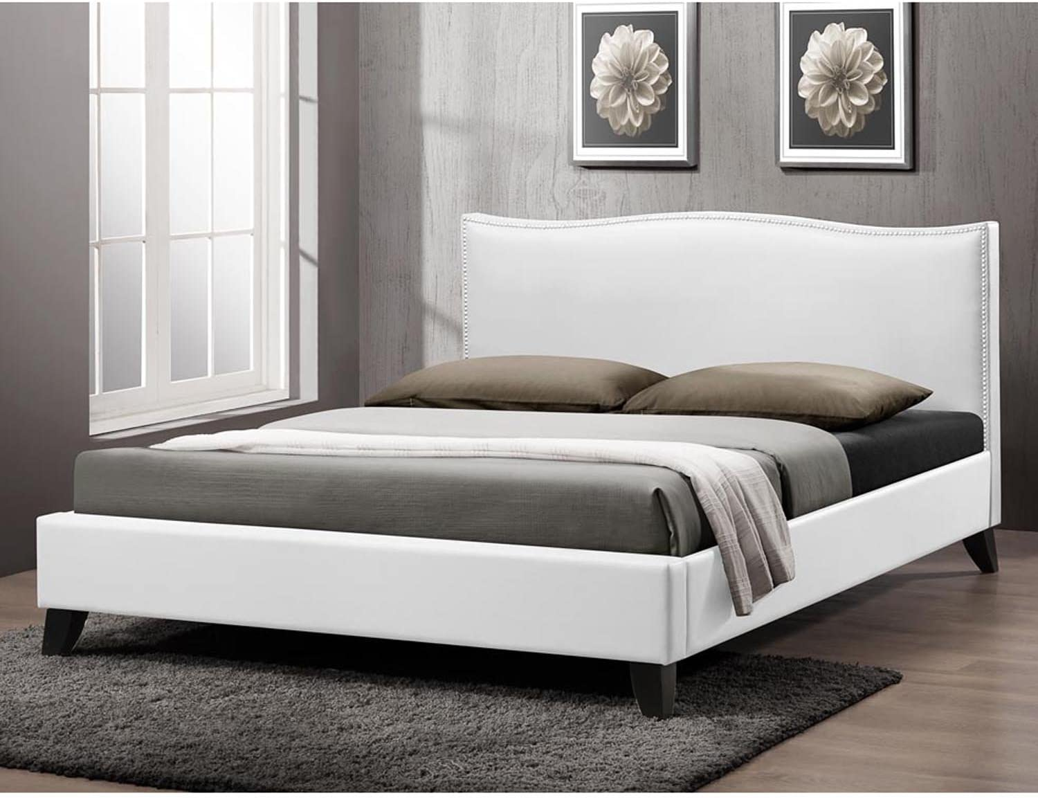 Baxton Max 78% OFF Ranking TOP20 Studio Battersby Modern Bed with Upholstered Headboard Q