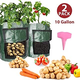 EZESO 10 Gallon Potato Grow Bags - Garden Plant Growing Bags with Drainage Holes & Handles, for Planting Potato, Carrot, Tomato (with Plant Labels) (2pack with 8Pcs Plant Labels)