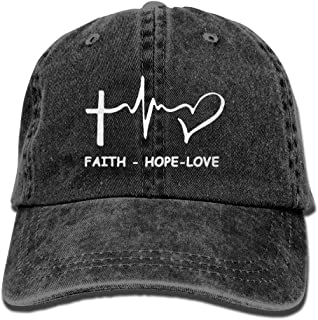 Faith Hope Love Christian Adjustable Hip Hop Cotton Washed Denim Caps Navy