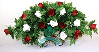 XL Red and White Roses Silk Flower Cemetery Tombstone Saddle Arrangement