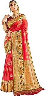 Royal party wedding south indian woman Bridal Silk Saree orange border & Rich Pallu Sari Blouse 6304