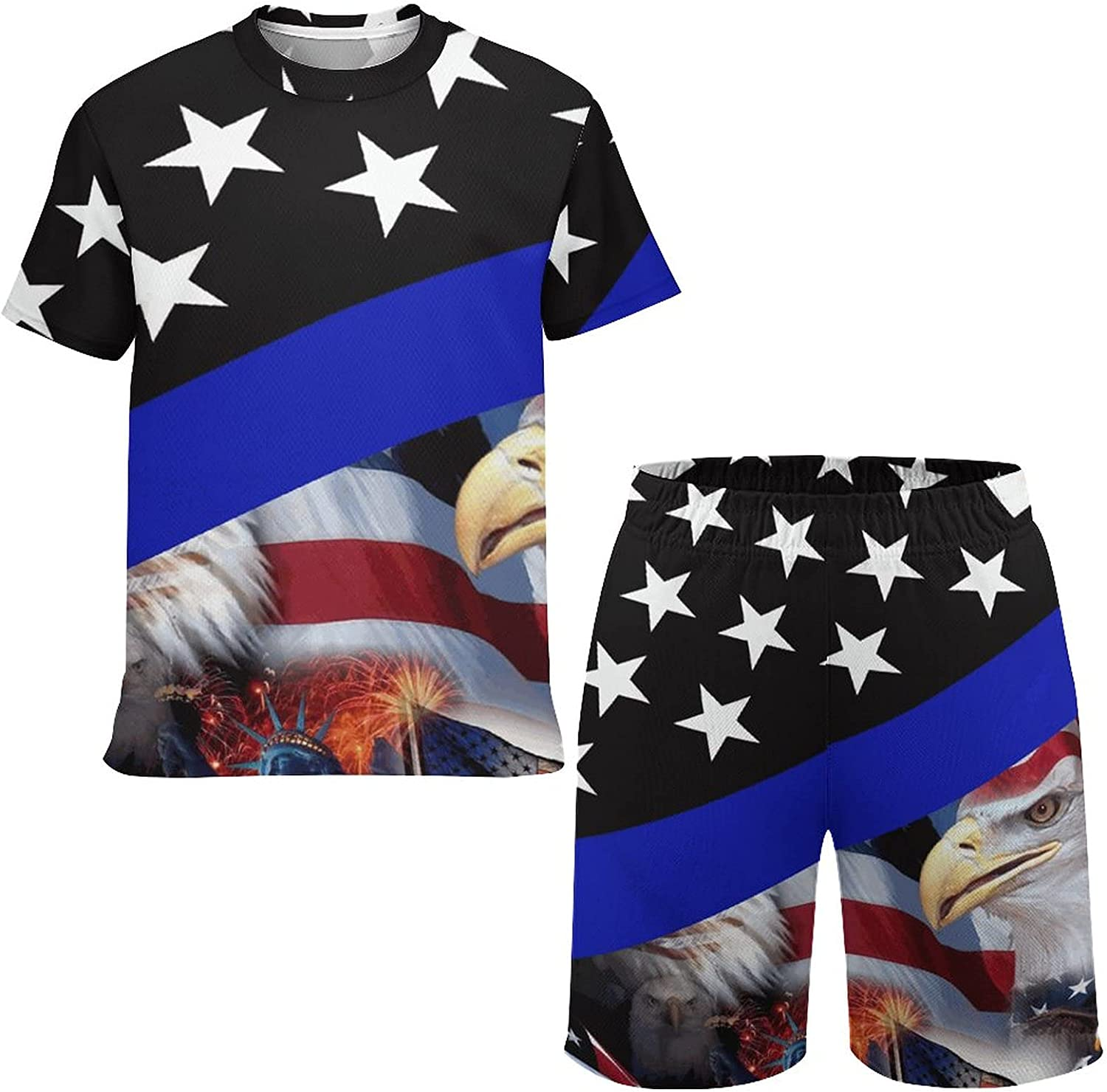 Boys and Teens Short Sleeve T-Shirt and Shorts with Mesh Liner, Thin Blue Line American Flag And Bald Eagle Soft Crewneck T-Shirts Outfit Set, Funny Summer Personality Tee Tops and Shorts , Small
