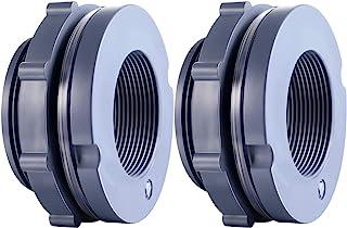 Outus 2 Pieces PVC Bulkhead Fitting for Rain Barrels, Aquariums, Water Tanks (2 Inch)