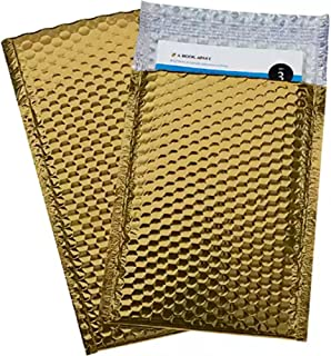 Bubble mailers 4x7. Padded envelopes 4 x 7 by Amiff. Exterior size 4.5 x 8 (4 1/2 x 8). Pack of 20 Gold cushion envelopes. Peel & Seal. Glamour Metallic foil. Mailing, shipping, packing, packaging.