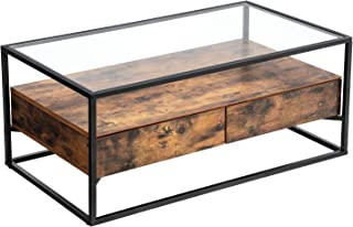 VASAGLE Industrial Coffee Table, Tempered Glass Top with 2 Drawers and Rustic Shelf, Decoration in Living Room, Lounge, Stable Iron Frame ULCT31BX