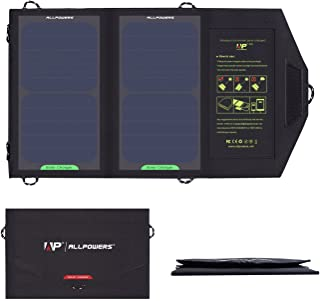 ALLPOWERS 5V10W Portable Phone Charger Solar Charge Panel with High Efficiency Sunpower Cells & Dual USB Output for Smart ...