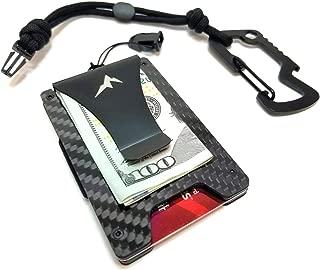 EDC Slim Money Clip Rigid Tactical Wallet-RFID Blocking Minimalist Credit Card Holder w/Paracord Lanyard & Carabiner