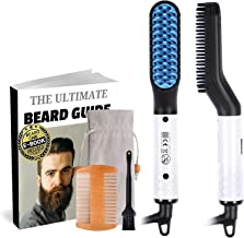 Beard Straightener Brush for Men, Ionic Electric Faster Heated Comb Portable Mens Beard Straightening Brush Hot Hair Comb Beard Straightener Comb or Men
