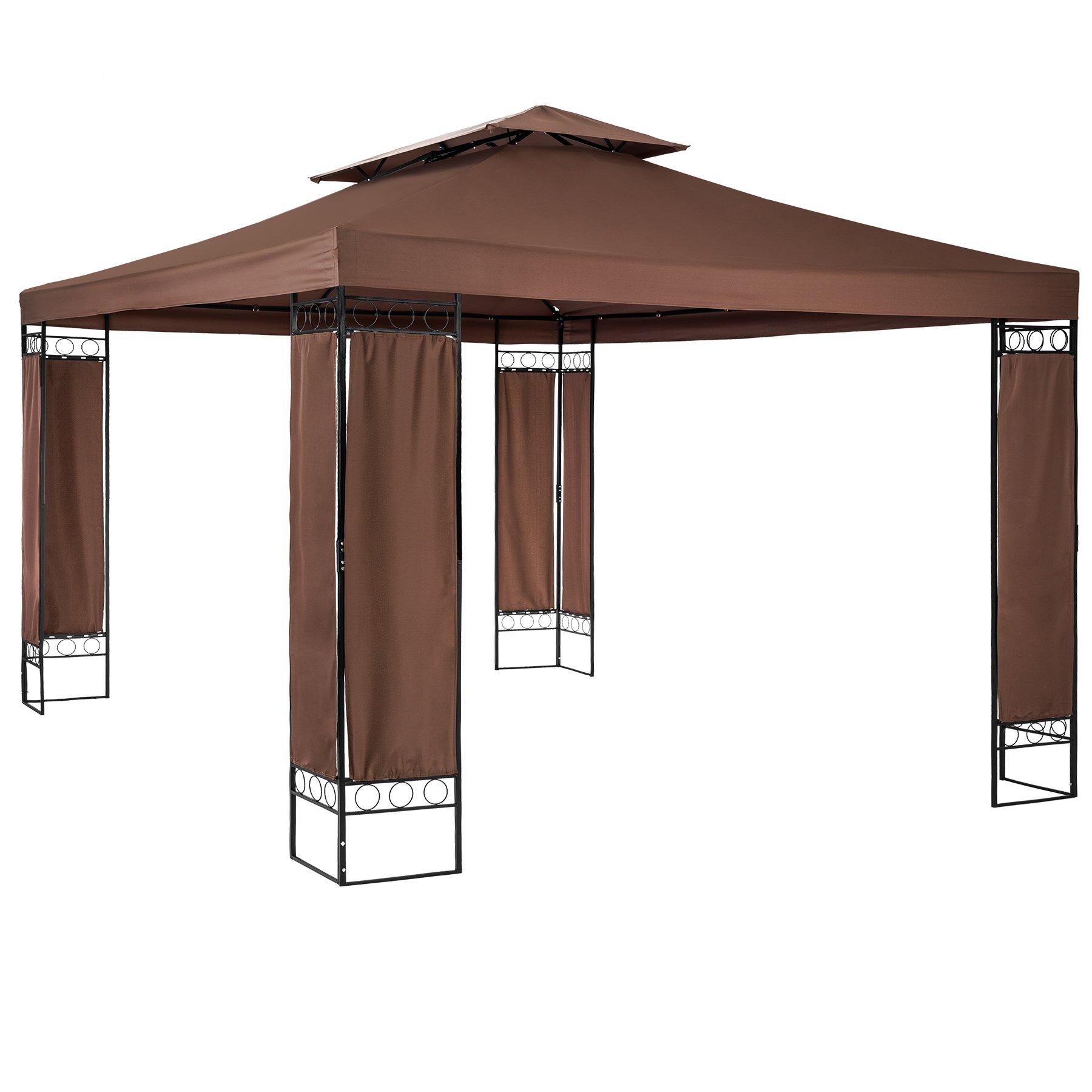 TecTake Carpa pabellón Tienda de Jardin 390x290x265 cm | Incl. Elementos en Esquina con Revestimiento de Tela (Marròn | no. 402464): Amazon.es: Deportes y aire libre