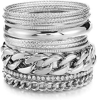 Multiple Textured Metal Bracelets & Bangles Set 14Pcs/Set W/Clear Rhinestones