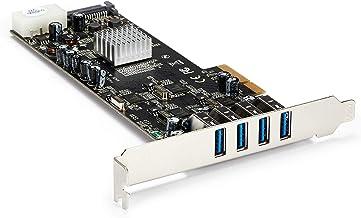 StarTech.com 4 Port USB 3.0 PCIe Card w/ 4 Dedicated 5Gbps Channels (USB 3.1 Gen 1) - UASP - SATA / LP4 Power - PCI Expres...