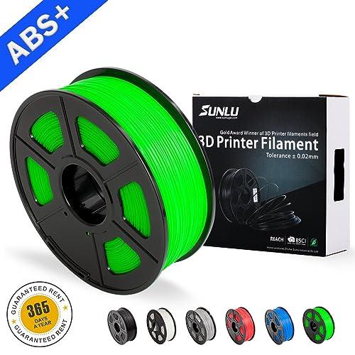 SUNLU ABS Filaments for 3D Printer-Green ABS Filament 1.75 mm,Low Odor Dimensional Accuracy +/- 0.02 mm 3D Printing Filament,2.2 LBS (1KG) Spool 3D Printer Filament for 3D Printers & 3D Pens,Green