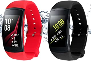 Rukoy Correas para Samsung Gear Fit 2 Band/Gear Fit 2 Pro [Paquete de 2: Negro + Rojo], Replacement Bands Accesorios para Samsung Gear Fit2 Pro SM-R365/Gear Fit2 SM-R360 Smartwatch (5.9