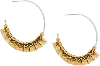 Steve Madden Two Tone Textured Fringe 44mm Tribal Hoop Earrings for Women