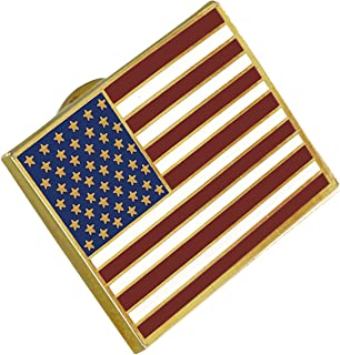 American Flag Lapel Pin Proudly Made in USA- Gold Plated Rectangle Bulk