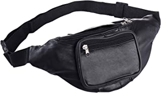 Black Leather Three Zippered Compartment Waist Hip Bag Pouch