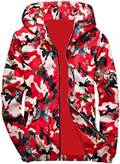 KFSO Camouflage Bomber Jacket Men Hip Hop Slim Fit Butterfly Bomber Jacket Coat Men's Hooded Jackets (Red, XL)