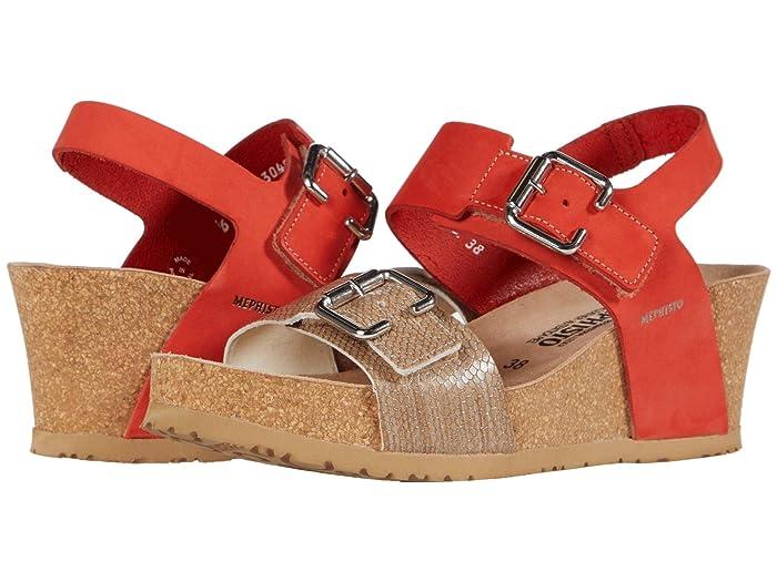 Mephisto  Lissandra (Coral Sandalbuck/Zambie) Womens Wedge Shoes