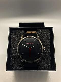 Mens Slim Black and Red Wrist Watch Minimalistic W/Black and Tan Band