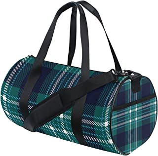 U LIFE Geometric Striped Checkered Tartan Gingham Plaid Sports Gym Shoulder Handy Duffel Bags for Women Men Kids Boys Girls