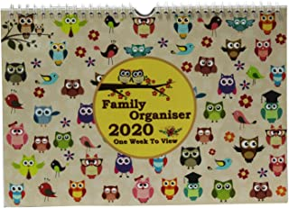2020 Family Organiser Calendar - Owl One Week to View Planner - Space for up to 5 People by Arpan