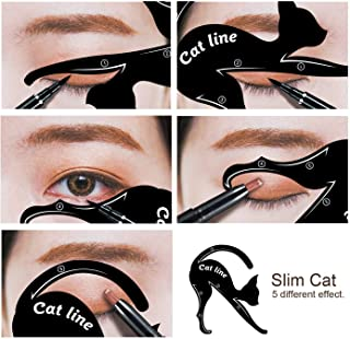 Aurinko Reusable Eyebrow Card Eyebrow Shaping Stencil Sticker Eye Brow Eyeliner Kajal Shaping Template Make Up Cat Line