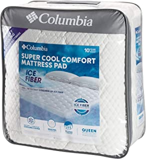"""Columbia Sportswear Company Quilted Ice Fiber Cooling Mattress Pad – Deep Pocket Fitted Sheet Cover Stretches to fit 16""""-18"""" Deep – Breathable & Hypo-allergenic Plush Bed Topper Protector- Queen Size"""