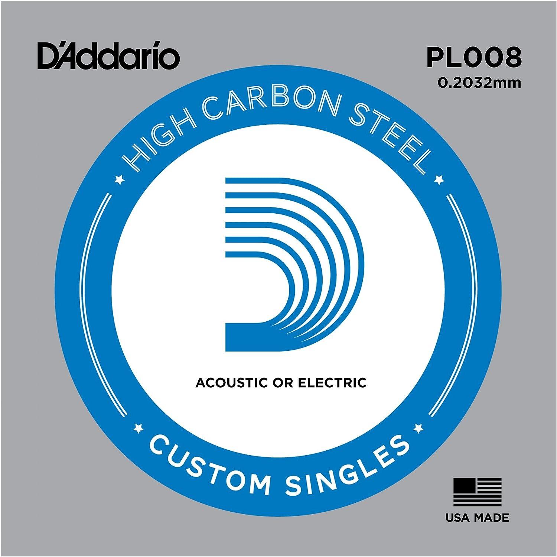 D'Addario PL008 - Cuerda individual de acero liso para guitarra, 0.2 mm