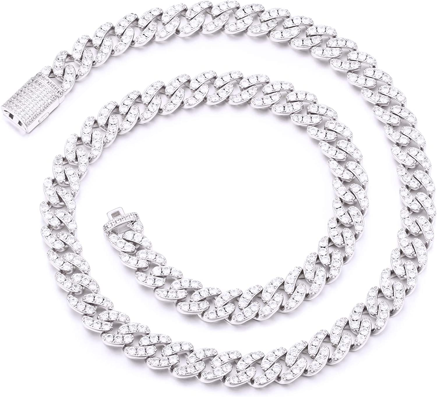 YIMERAIRE Lab Simulated Diamond Cuban Link Chain Choker for Women| 18K Gold White Gold Plated 6MM/8MM/12MM/14MM/15MM Miami Link Chain for Men, Full CZ Prong Set Link Necklace Iced Out, with Gift Box