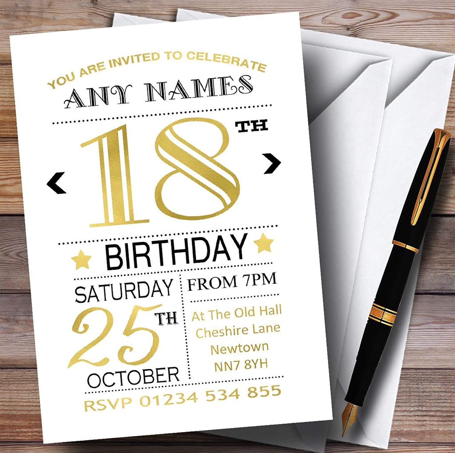 White Black & gold 18th Personalised Birthday Party Invitations