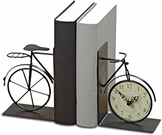 WHW Whole House Worlds Industrial Chic Bicycle Bookends with Analog Clock, Set of 2, Handcrafted of Bent and Welded Black Iron, Combined 8 5/8 Inches Long, 1 AA Battery (Not Included)