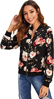 Women's Ring Zip Up Floral Print Stand Collar Baseball Bomber Jacket