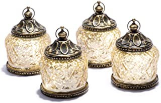 "Mini Gold Mercury Glass Lanterns - Set of 4, Warm White LED Lights, 4"" Height, Antique Bronze Accents, Battery Operated, for Ramadan, Weddings and Home Decor"