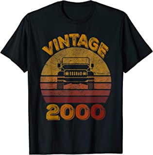 Vintage 2000 Jeeps 20th Birthday Retro Sunset Dad Mom Gift T-Shirt
