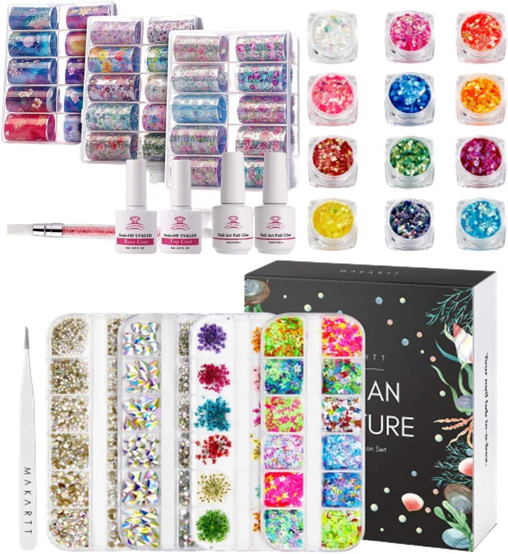 Makartt Nail Art Now on sale Foil Glue Gel Flower Starry Sky latest with Star