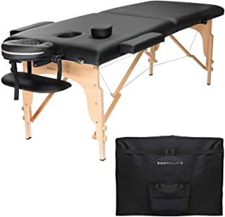 Saloniture Professional Portable Folding Massage Table with Carrying Case – Black