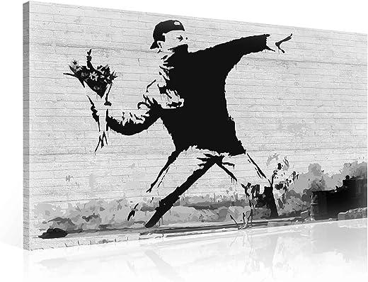 Wallsticker Warehouse Banksy Rage Flower Thrower Leinwand Bilder (PP2085O6FW) Size O6-80cm x 60cm – 230g/m2 Canvas – 1 Piece