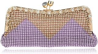 Women's Clutch Bag,Glitter Beaded Rhinestone Evening Bag Bridal Wedding Bag Handbag Prom Bag Purse,Purple,5 * 26 * 11cm