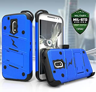 ZIZO Bolt Series Motorola Moto G4 Plus Case Military Grade Drop Tested with Tempered Glass Screen Protector Holster Blue Black