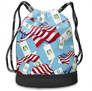Guatemala Flag With America Flag Drawstring Backpack Sports Bag For Women Men Gym Hiking Travel Beach With Zipper