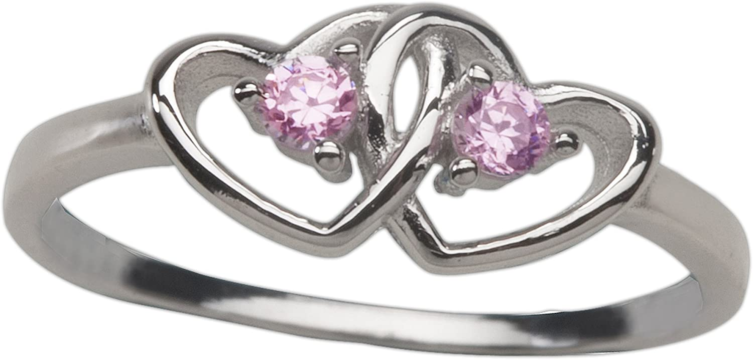 Sterling Ranking TOP11 Silver Double Heart Baby Ring trend rank for with Clear Girls CZ's