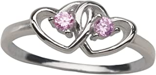 Sterling Silver Pink Double Heart Baby Ring for Girls with CZ's