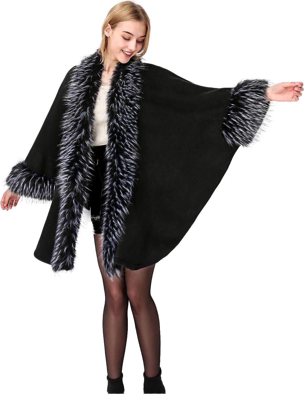 BEAUTELICATE Women's Faux Fur Poncho Fr Cloak Coat Nashville-Davidson Mall Oversize Open Max 90% OFF