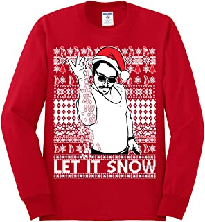 Salt Bae Let It Snow | Mens Ugly Christmas Long Sleeve Tee Graphic T-Shirt