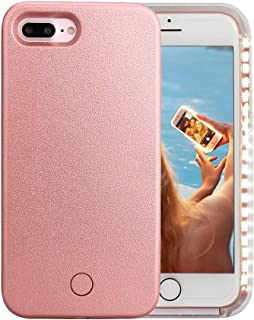 iPhone 7 Plus Case, iPhone 8 Plus Case, Wellerly LED Illuminated Selfie Light Cell Phone Case Cover [Rechargeable] Light Up Luminous Selfie Flashlight Case for iPhone 7 / 8 Plus 5.5inch (Rose Gold)