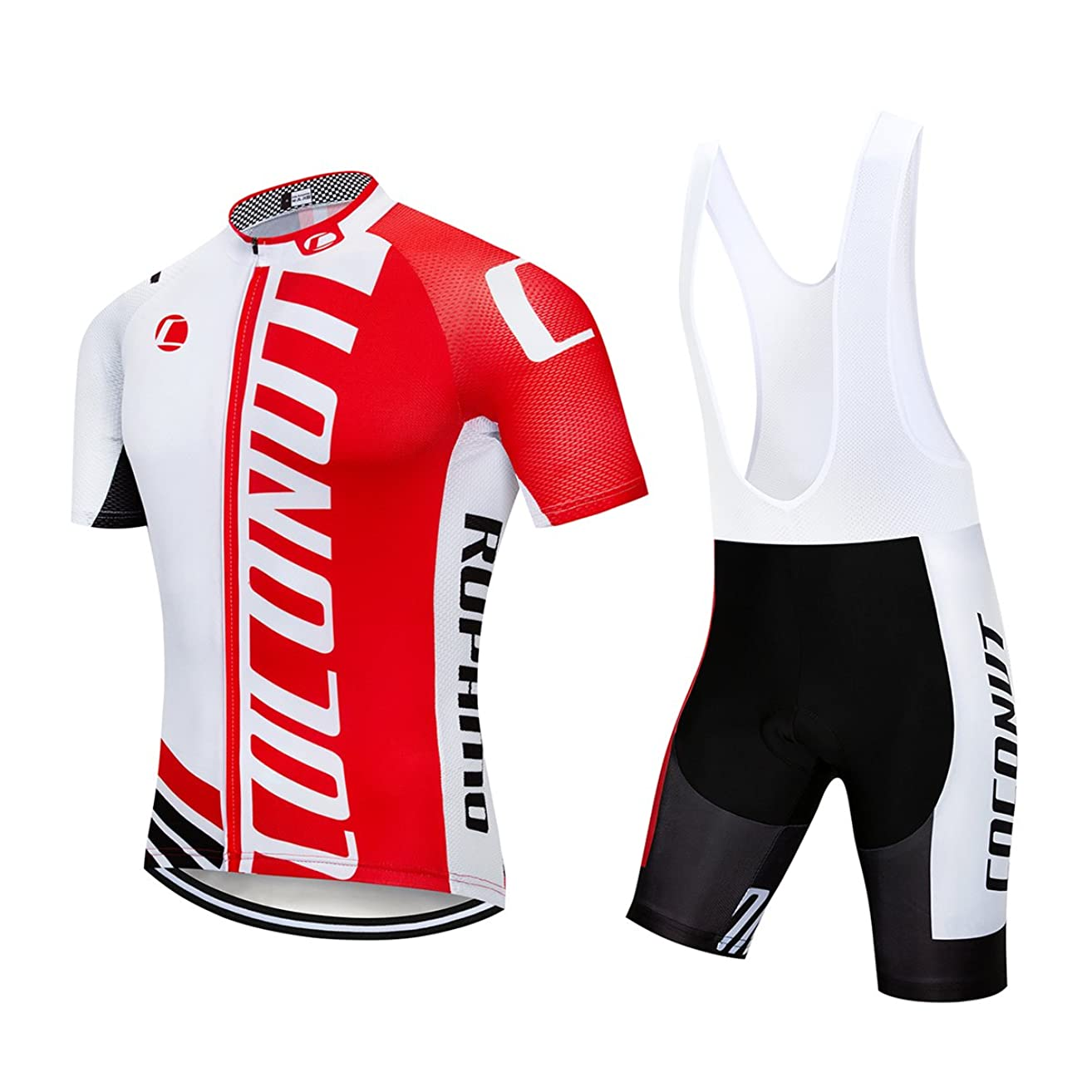 Men's Cycling Jersey Short Sleeve Full Zip Bike Clothing Set Quick-Dry Bib Shorts with 3D Gel Padded