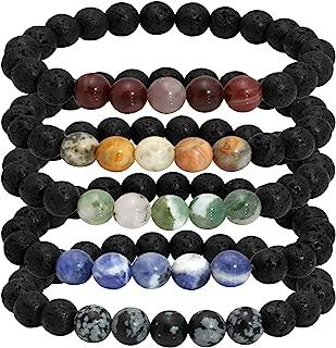MILAKOO Natural Lava Rock Stone Essential Oil Diffuser Bracelet Healing Energy Mala Jewelry
