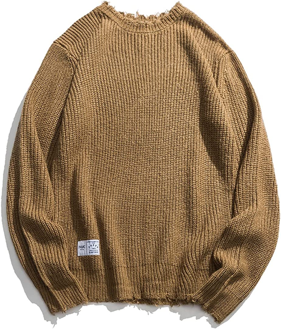 GHURFNP Solid Sweater Men Harajuku Winter Knitted Sweater Pullover Oversized Sweater