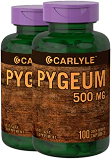 Pygeum Africanum Bark 500 mg 2 x 100 Capsules Twin Pack | High Potency Extract | Supports Prostate Health | Non-GMO, Gluten Free Supplement | by Carlyle